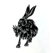 hare for linoprint poster - c. pike